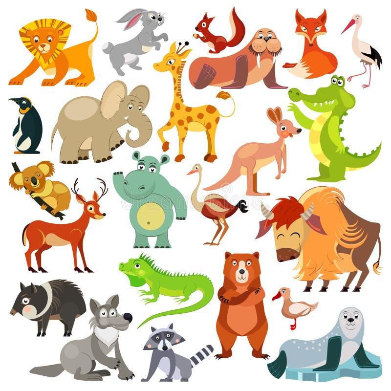 Set śmieszni zwierzęta, ptaki i gady po całym od światu, Światowe fauny Dla abecadła wektor royalty ilustracja