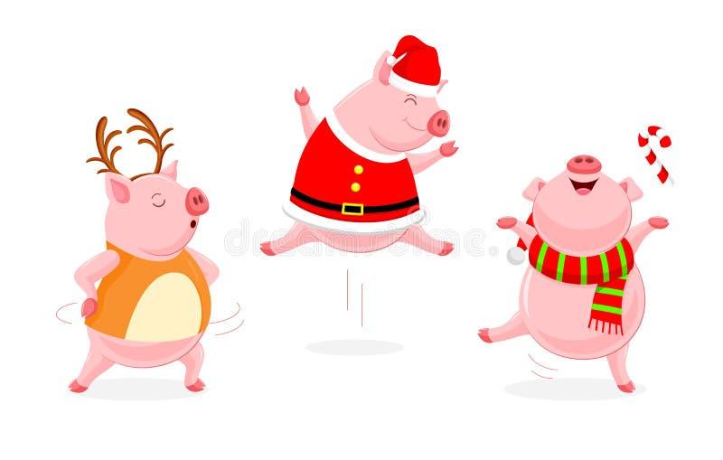 Set śmieszny śliczny kreskówki świni taniec royalty ilustracja