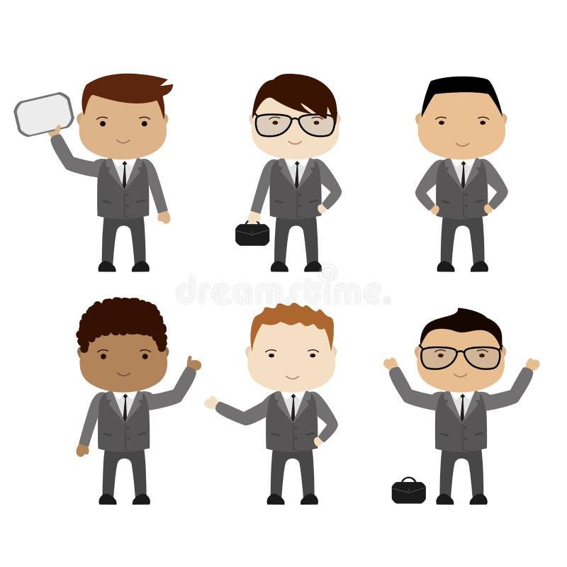 Set śmieszny kreskówka biznesmen lub kierownik w różnorodnych pozach, dif ilustracja wektor