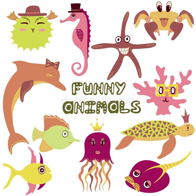 Set śmieszy morskich zwierzęta i ryba pociągany ręcznie kolor ilustracji
