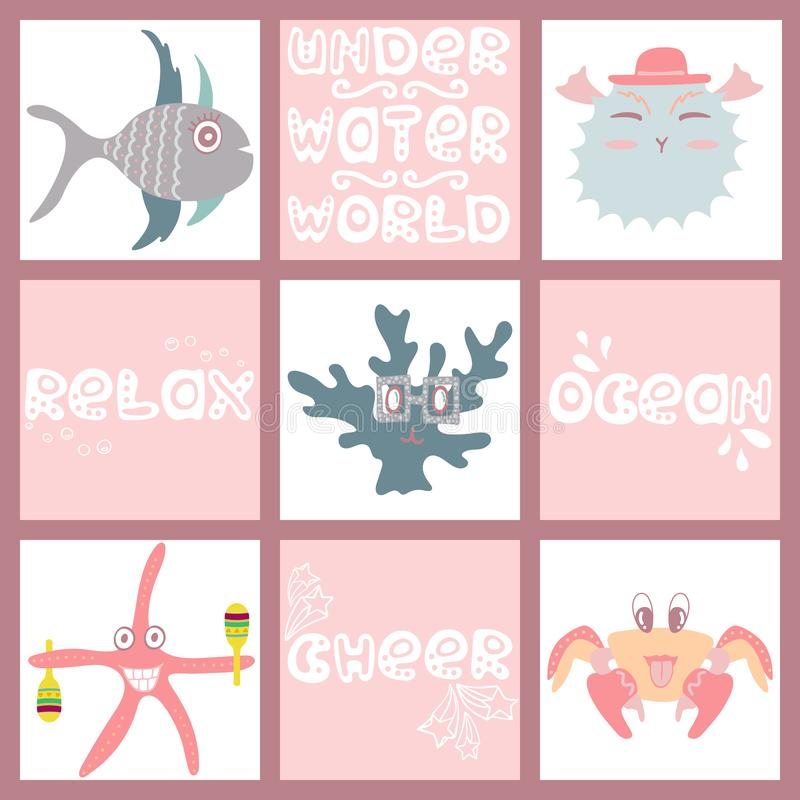 Set śmieszy morskich zwierzęta i ryba pociągany ręcznie kolor ilustracja wektor