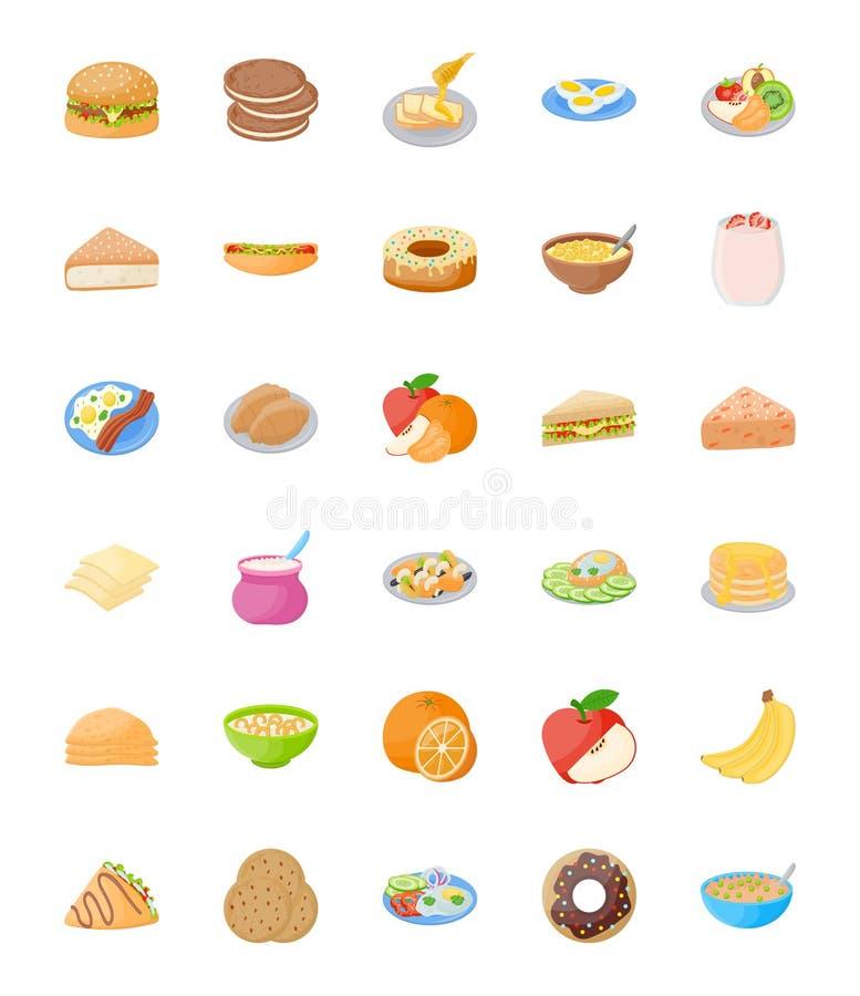 Set Śniadaniowe Płaskie Wektorowe ikony ilustracja wektor