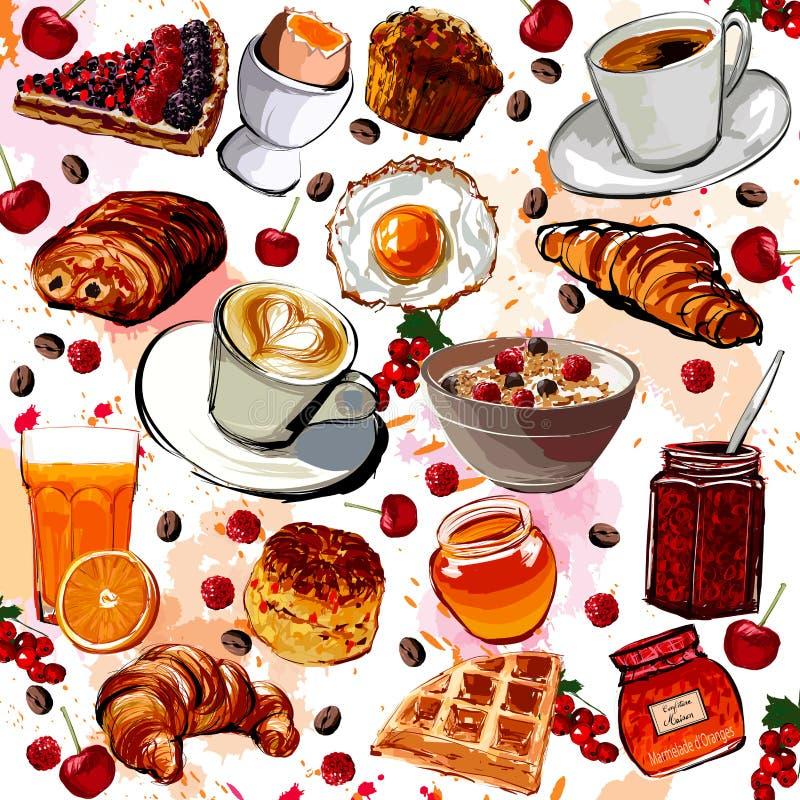 Set śniadaniowy jedzenie royalty ilustracja