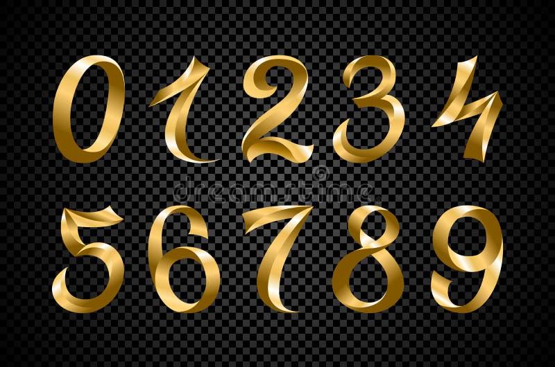 Set świąteczne złociste tasiemkowe cyfry wektorowe złoty iryzuje gradientu numerowego geometrycznego projekt na czarnym tle royalty ilustracja