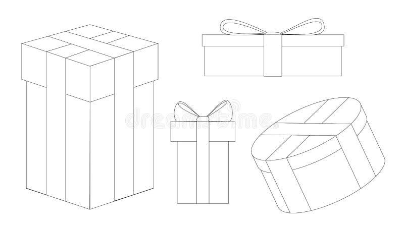 Set świąteczni nowy rok prezenty Kreskowy rysunek zdjęcie stock