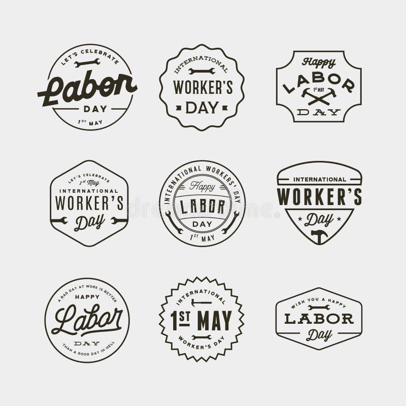 Set święto pracy odznaki międzynarodowa pracownika dnia wektoru ilustracja ilustracja wektor