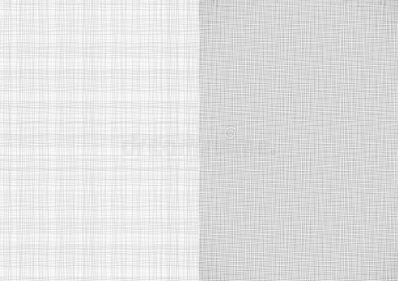 Set światło - szara białej linii tkaniny burlap niciana brezentowa tekstura w A4 papierowego rozmiaru tło ilustracja wektor