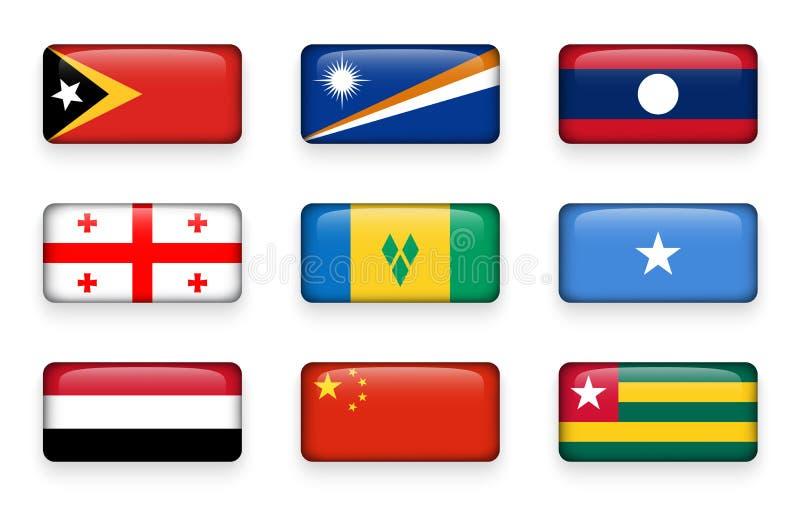 Set świat zaznacza prostokątów guziki Timor Wschodni Marshall wyspy Laos Gruzja Święty Vincent i grenadyny Somalia royalty ilustracja