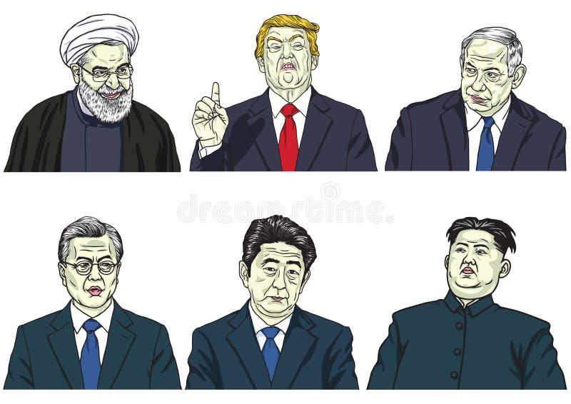 Set światowi lidery Donald Przebija, Hassan Rouhani, Benjamin Netanyahu, księżyc W, Shinzo Abe, Kim UN Wektorowa kreskówka Caric