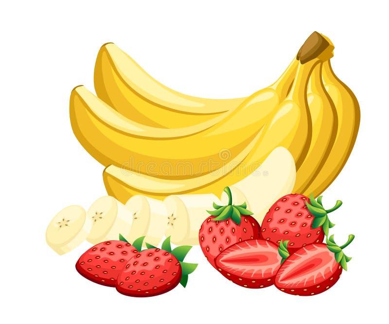 Set świeża truskawka i banany ciie kawałkami z różnej przyjęcie kreskówki jaskrawą owocową ilustracją odizolowywającą dalej royalty ilustracja