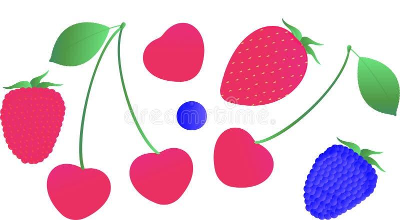 Set świeże całe jagody truskawka, malinka, czernica, wiśnia i czarna jagoda na białym tle, ilustracja wektor