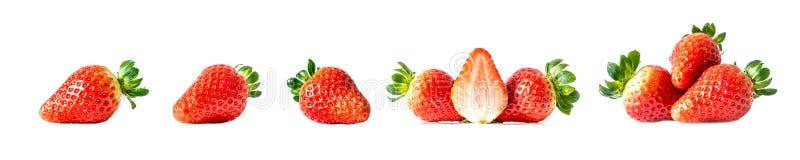 Set świeże dojrzałe czerwone truskawki z zielenią opuszcza w górę na białym tle, odizolowywa Wielka wielkościowa fotografia kolek fotografia stock