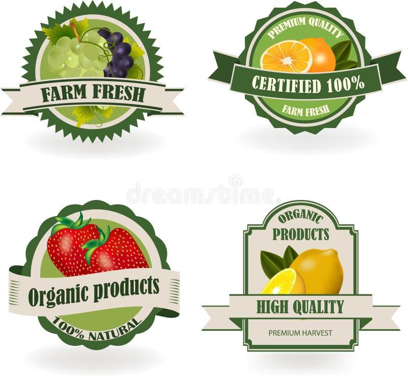 Set Świeże Organicznie owoc etykietki ilustracja wektor