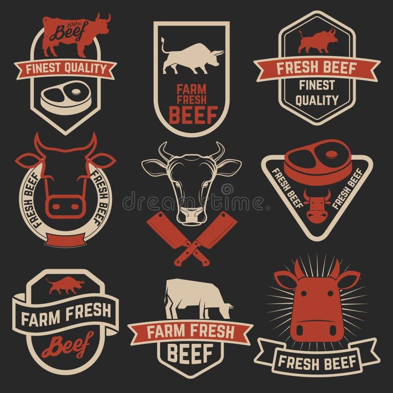 Set świeże wołowiien etykietki Butchery sklepowi emblematy elementy projektu podobieństwo ilustracyjny wektora royalty ilustracja