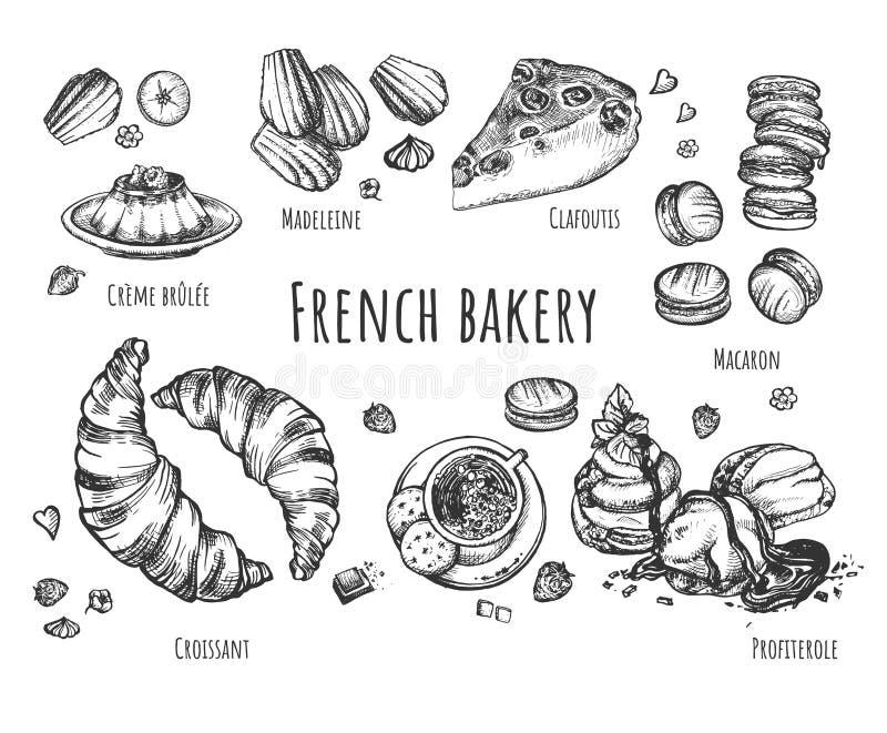 Set świezi piec francuscy słodcy desery ilustracji