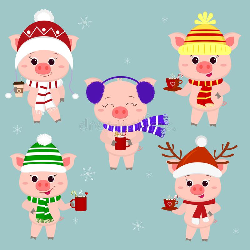 Set świnie w różnych kapeluszach i szaliku z filiżankami różni gorący napoje boże narodzenie nowy rok szczęśliwy wesoło Symbol ilustracja wektor
