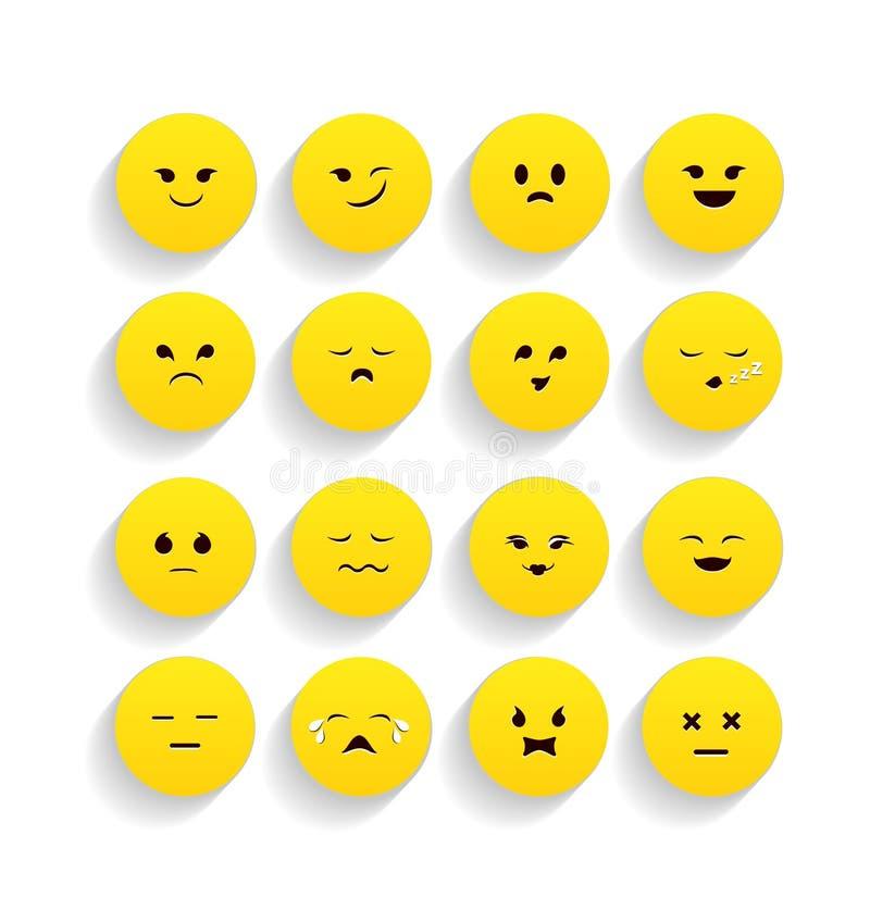 Set żółci emoticons w mieszkanie stylu ilustracji
