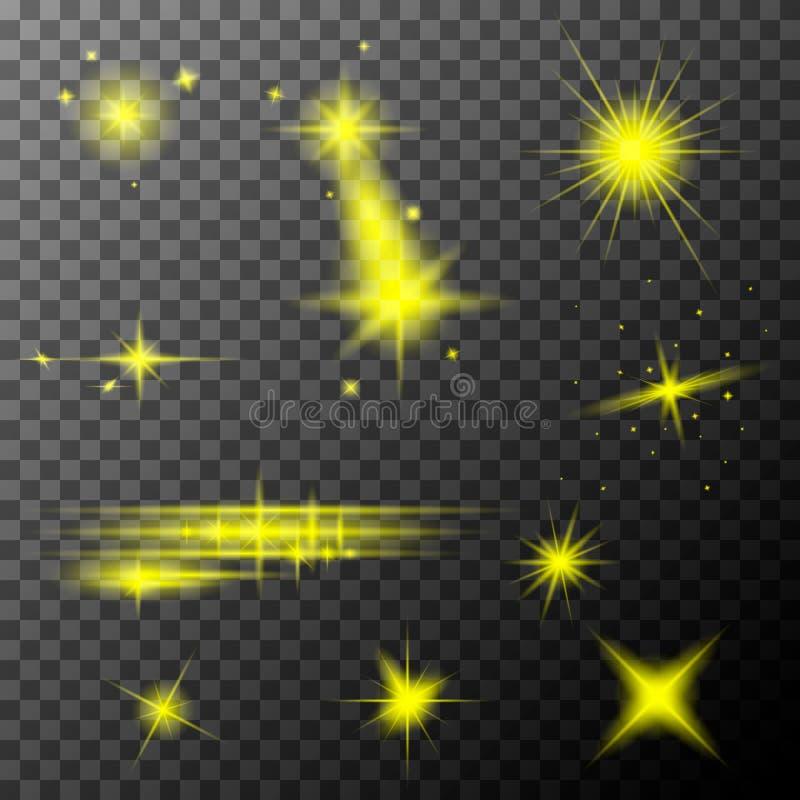 Set żółci obiektywów racy Kolor żółty błyska połysku specjalnego lekkiego skutek royalty ilustracja