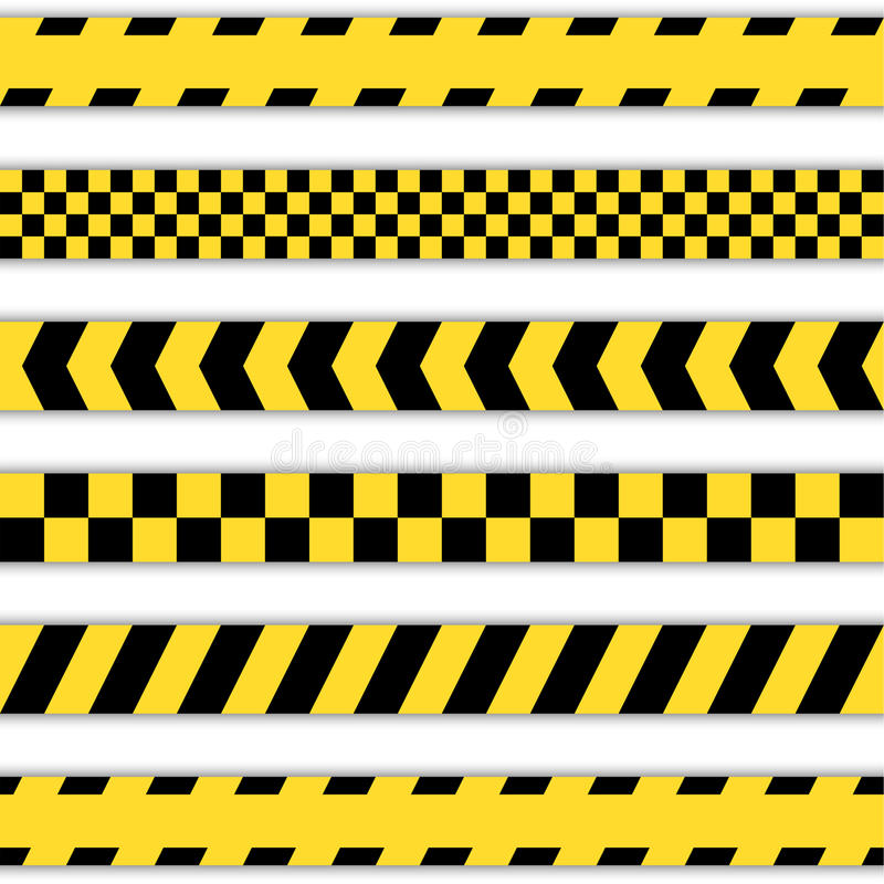 Set żółte barier taśmy royalty ilustracja
