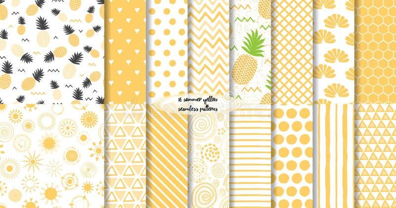 Set żółty lato i owocowi bezszwowi wzory również zwrócić corel ilustracji wektora ilustracja wektor