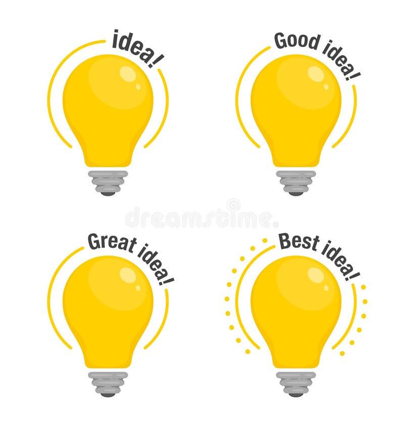 Set żarówki pomysł Żółte rozjarzone żarówki z tekstem Symbol pomysł, rozwiązanie i główkowanie, Mieszkanie stylowa ikona wektor royalty ilustracja