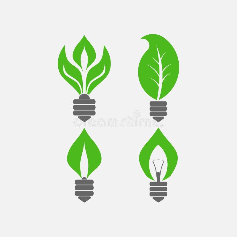 Set żarówki z liśćmi, ratuje elektryczność, ekologia n ilustracji