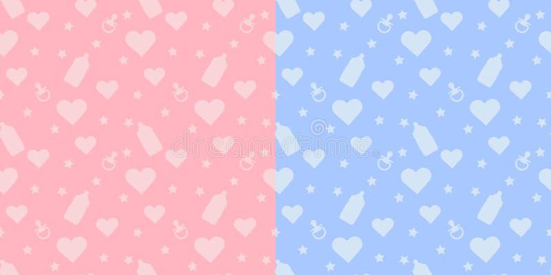 Set żartuje ślicznego bezszwowego wzór z kształtami dziecko butelka, pacyfikator, serce i menchii tło na błękicie, ilustracji