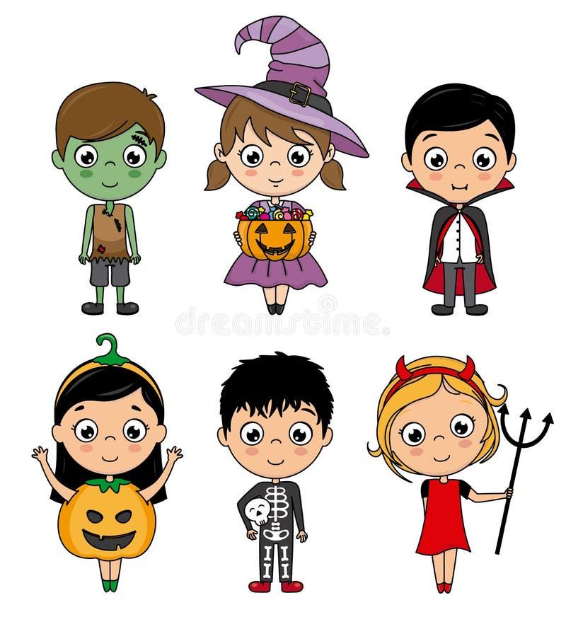 Set żartuje kostiumy Halloween royalty ilustracja