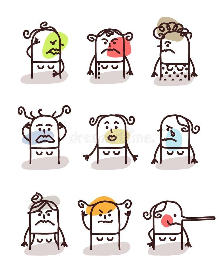 Set żeńscy avatars - zli nastroje ilustracji