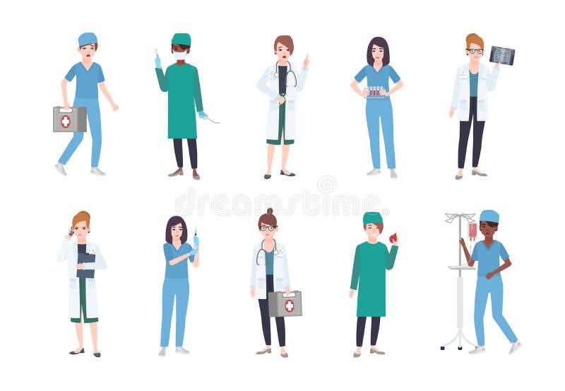 Set żeńscy medyczni pracownicy Plik kobieta studenci medycyny ubierał w białych pętaczkach i żakietach - lekarka lub lekarz, sani ilustracji