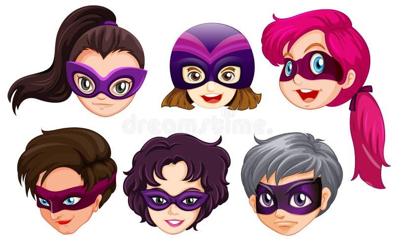 Set żeńska bohater głowa ilustracja wektor