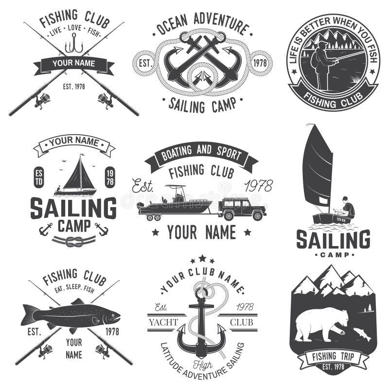 Set żeglowanie obóz i połów świetlicowe odznaki wektor Poj?cie dla koszula, druku, znaczka lub tr?jnika, Rocznik typografii proje ilustracja wektor