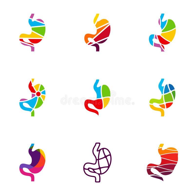 Set żołądka logo projekta pojęcie, żołądek z Kolorowym logo szablonu wektorem - Wektorowa ilustracja ilustracja wektor