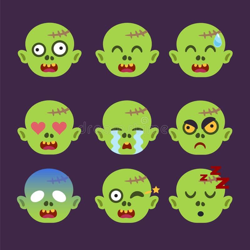 Set żywego trupu Emoticon majcher Odizolowywający ilustracja wektor