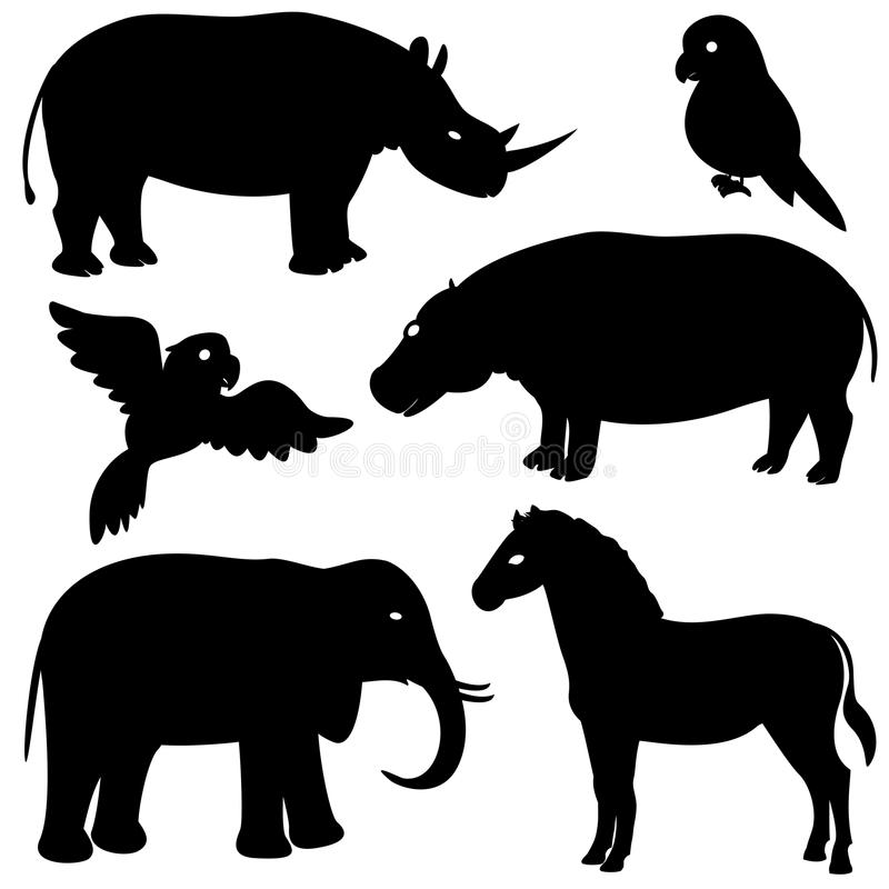 Free Set 1 Of African Animals Silhouettes Stock Photos - 30373563