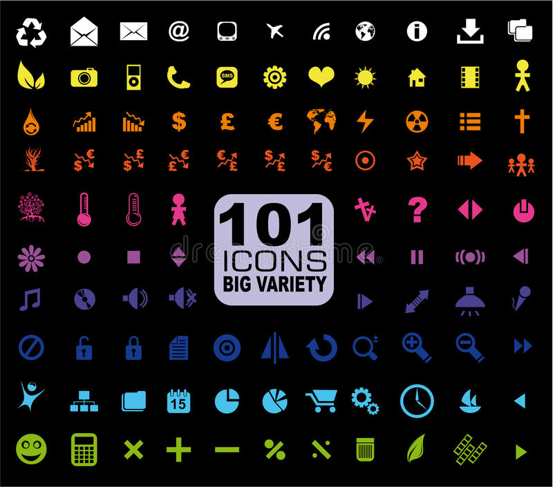 Set of 101 Icons - General. Internet, Mulstimedia vector illustration