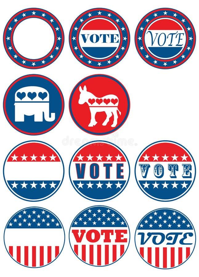 Set of 11 election campaign badges royalty free illustration
