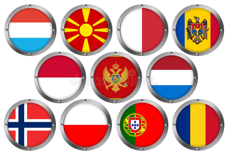 Download Set Of 11 Flags In Round Metal Frame-Europe 3 Stock Illustration - Image: 26417570