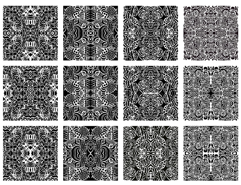 Download Set Of 12 Monochrome Modern Seamless Patterns Stock Vector - Image: 23614197