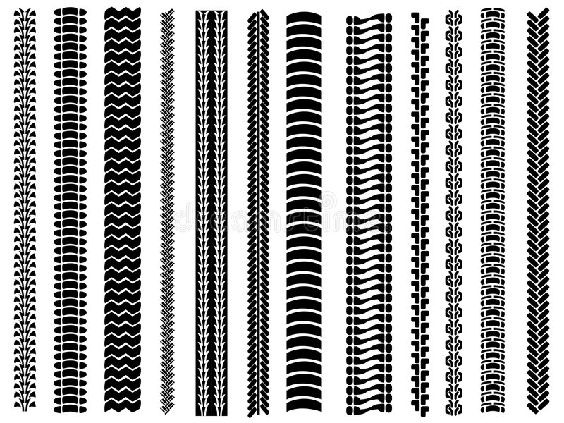 Download Set of 12 tyre tracks stock vector. Image of isolated - 5571544