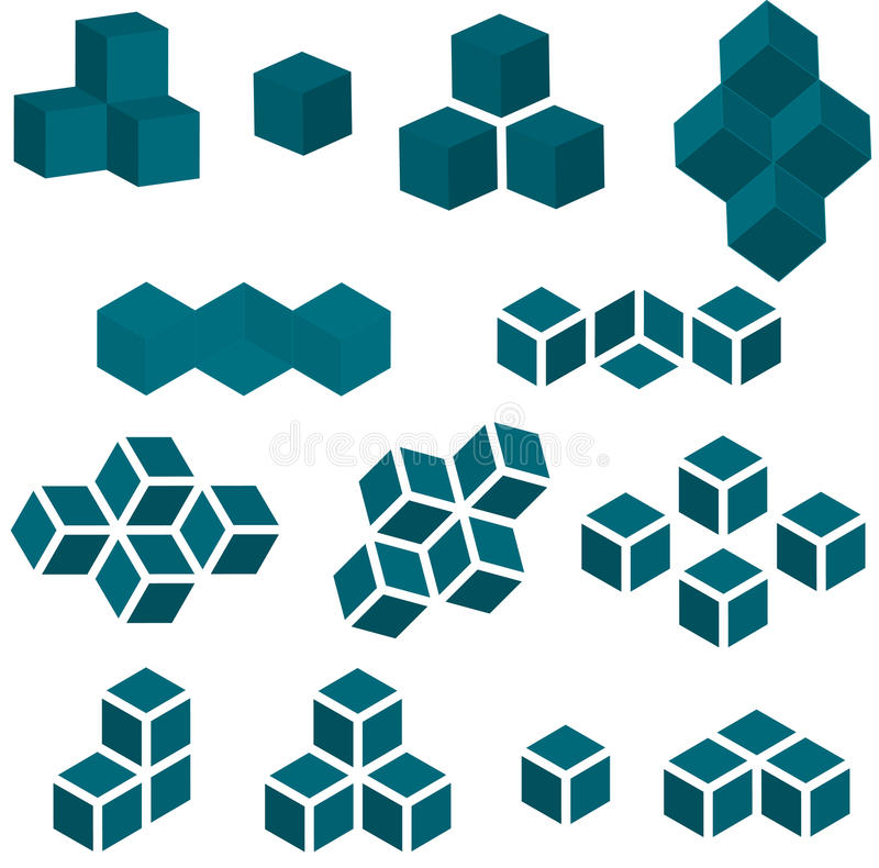 Set of 13 Cube Pieces for Logo stock illustration