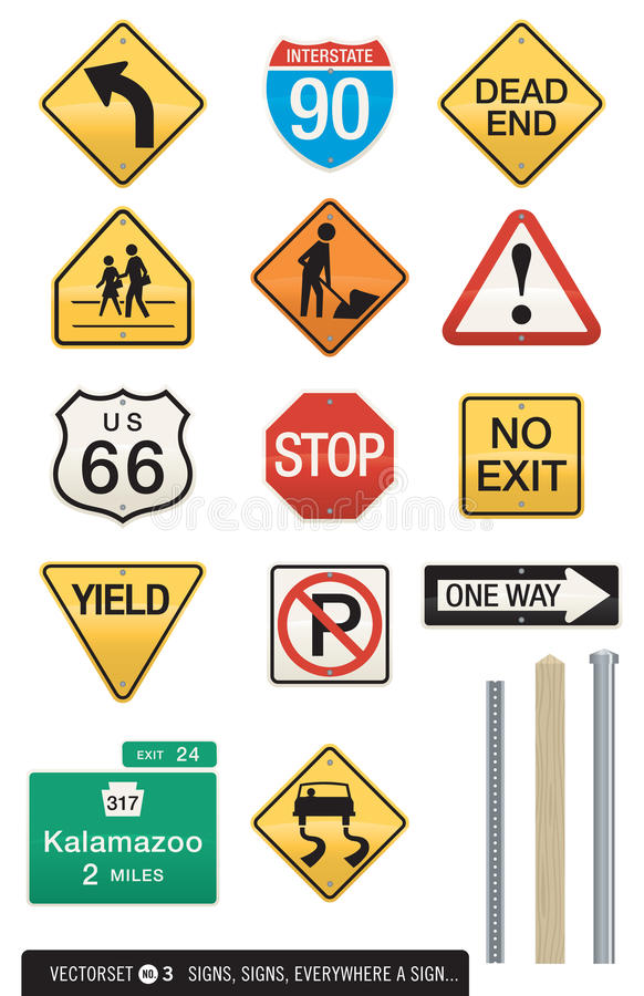 Download Set of 14 Highway Signs stock vector. Illustration of sign - 21010186