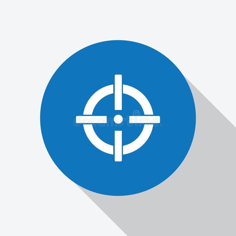 White Gun target shooting icon in blue circle. vector illustration