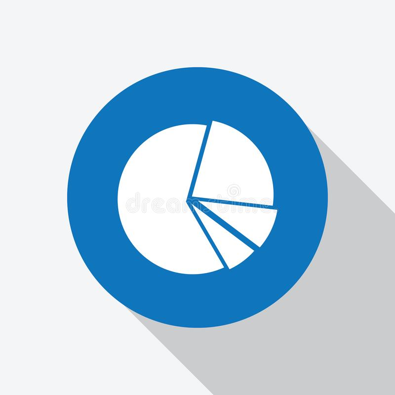 White Pie Chart Icon in blue circle with shadow royalty free illustration