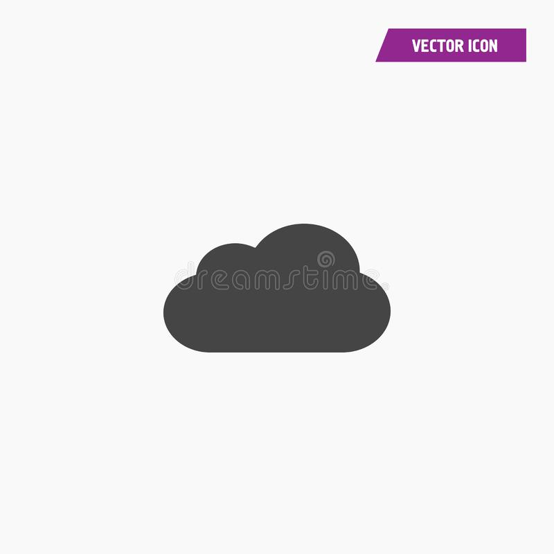 Black solud flat cloud icon vector 10 EPS. royalty free illustration