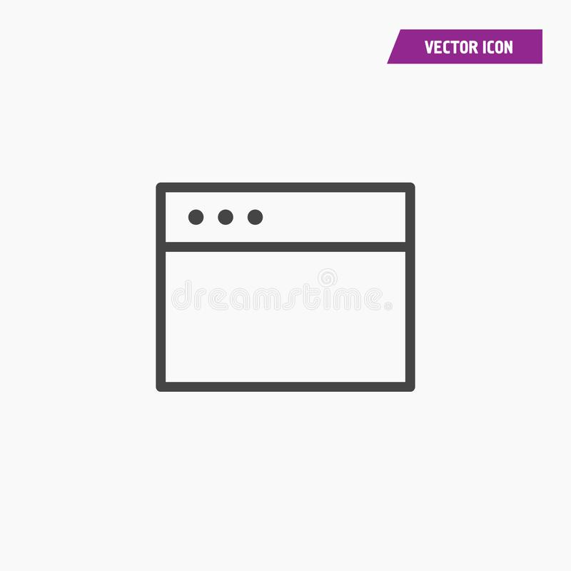 Web browser window line icon, outline vector. stock illustration