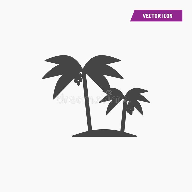 Palm trees with coconut silhouette icon on island. Vector illustration - Vector stock illustration