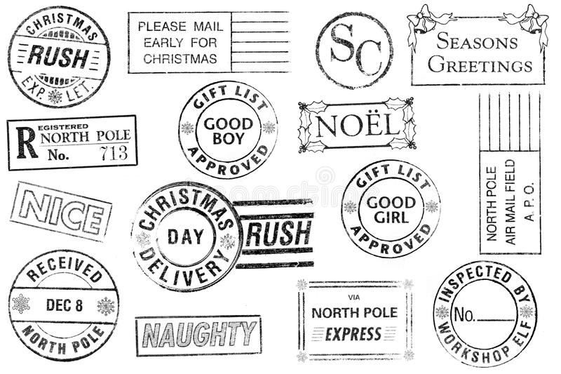 Set of 15 Christmas Stamps royalty free stock photography
