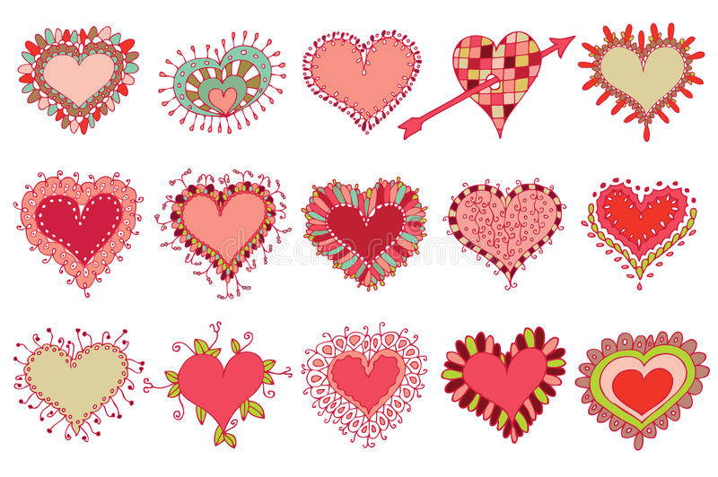 Download Set of 15 hearts stock vector. Image of drawing, internet - 12842519