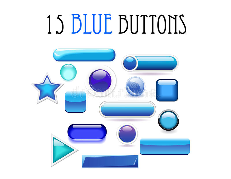 Set of 15 various blue buttons in stock photo